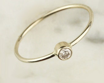 White .10 Carat Diamond Skinny Stacking Gold Ring in Solid 14k