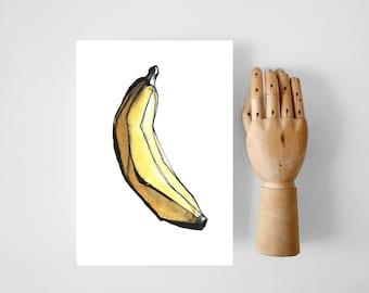 Modern banana print, minimal banana print, fruit art print, fruit wall art decor, modern fruit illustration, banana wall print, kitchen wall