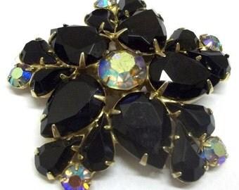 Large Black Rhinestone Brooch Black Floral Star Brooch Black Teardrop Rhinestone Flower Sash Brooch Goth Wedding Black Bridal Jewelry DD 359