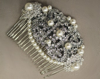 Vintage Comb, Bridal comb, Crystal, Pearls, Wedding Accessory, Bridal hair comb, Tiara, Swarovski, Ivory White pearls