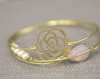 Bridal Cuff,Bracelets, Bridal Bangles, Bangle set, Gold, Blush Pink, Pink Opal, Romantic Rose, Flower Bracelet, Cuff Bracelet