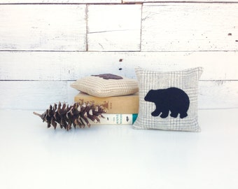 Black Bear Balsam Pillow, Black Bear Decor, Rustic Home Decor, Cabin Pillows, Small Pillow, Woodland Bear, Natural Home Decor, 6x6 Pillow