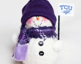TCU Snowman Ornament