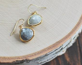 Labradorite Classic Dangle Earrings // Gray // Gold Filled Hooks // Bridesmaid Earrings // FW15