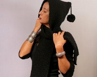 Black Knit Hood Scarf, Knit Hooded Scarf, Chunky Cowl Hood, Scoodie, Warm Hooded Hat,  Men & Women Knit Scarf Hat, Winter Unisex Knitwear