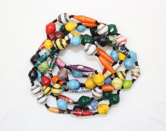 Multi Color Paper Beads Necklace. Extra Long Lariat. Papier Mache Beads. Ethnic Style. Hand Rolled. Paper Marche PS001. MapenziGems