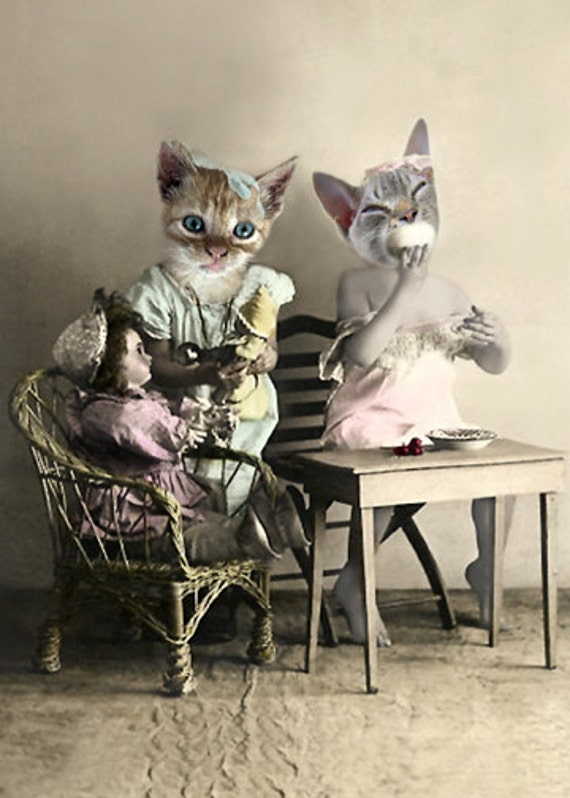 Sisters, Vintage Cat Print, Anthropomorphic, Photo Collage, Cats Having Tea, Whimsical Art, Cat Art, Kitten Sisters, Digital Collage
