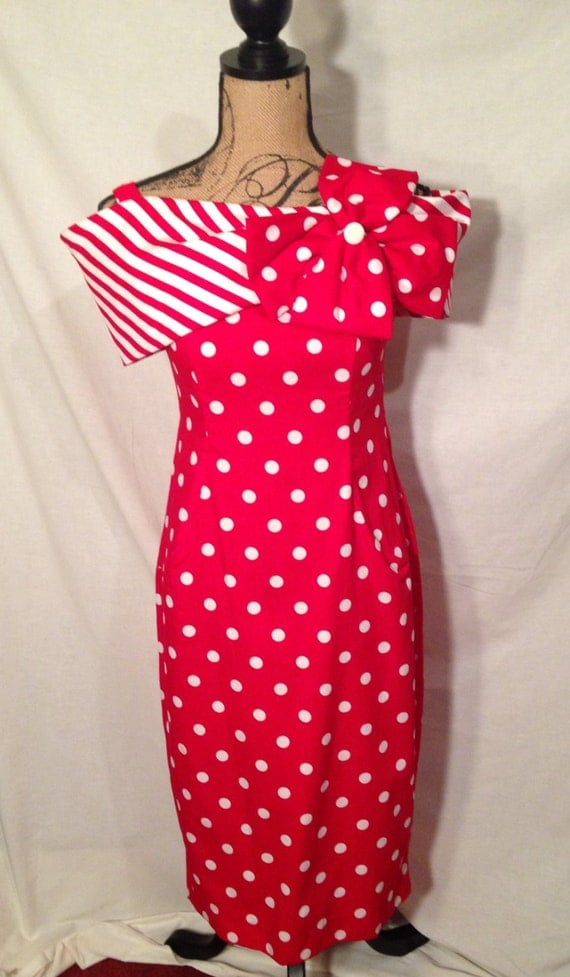 Act 1 New York Vintage Retro Rockabilly Red Polka Dot Off the Shoulder Dress NWT Size 3-4 D62