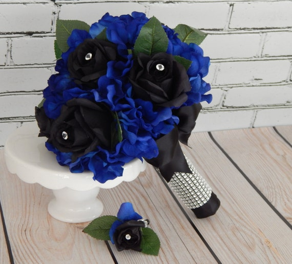 Dark Blue Flowers For Wedding Bouquets: Rose Wedding Bouquet Black And Blue Silk Flower Bridal By