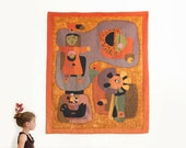Vintage Large Signed Hand Made Wool Tapestry By Portuguese Artist Maria Flávia / Museum Exhibited - Mid Century