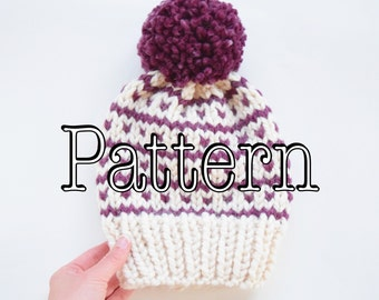 Knitting PATTERN, Fair Isle Knitted Hat, Knitted hat with pom, Fair isle slouchy hat || The Breckenridge
