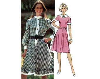 Simplicity Sewing Pattern Retro Mini Baby Doll Dress Plus Size Full Figure Bust 38 Peter Pan Collar Full Skirt High Neck