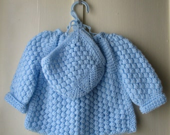 Vintage handknit matinee set / 3-piece set / sweater, bonnet, booties / baby boy or girl  6 to 12 months