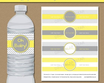 Yellow and Gray Chevron Water Bottle Labels - Gender Neutral Baby Shower Decor Printable Baby Shower Water Bottle Wrappers Instant Download