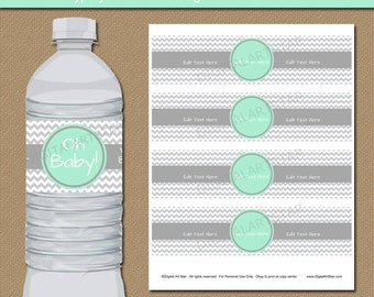 Mint & Grey Baby Shower Decorations - Printable Water Bottle Labels - Mint Green and Grey Chevron Party Supplies - Baby Shower Party Favors