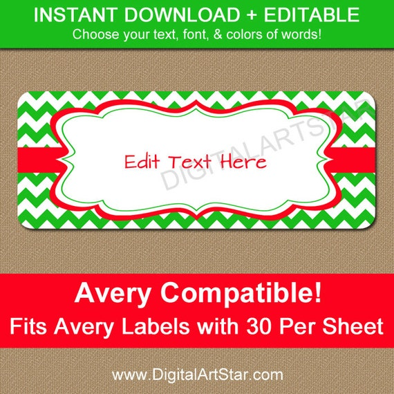 EDITABLE Christmas Address Labels - Printable Holiday Return Address ...
