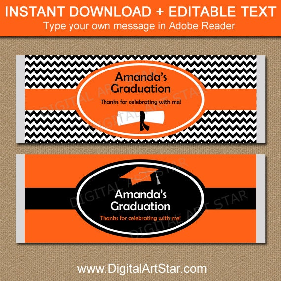 Printable graduation chocolate bar wrapper high school for Free printable graduation candy bar wrappers templates