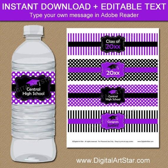 High School Graduation Water Bottle Labels, Graduation Party Ideas ...