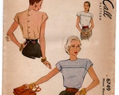 """1940's McCall Blouse with Button up Back detail pattern - Bust 30"""" -  No. 6749"""