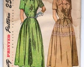 "1950's Simplicity One Piece Short Sleeve Dress - Bust 34"" - No. 2504"