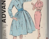 1960's Advance One-Piece Dress Pattern with Full or Pencil Skirt - Bust 39 - No. 9367