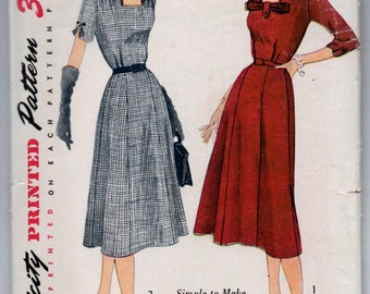 "1950's Simplicity One-Piece Dress with square neckline and bow detail Pattern - Bust 42"" - No. 3709"
