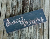 Sweet Dreams Hand-Painted Distressed Slate Gray and Pink Sign. Nursery, Girl, Teen Room Decor