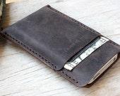 iPhone4/ 2Side wallet/Dark brown distressed genuine leather phone case/ cream stitching