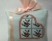 Heart And Roses  Ornament/ Cross Stitched