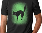 Mens Glowing Cat Halloween T-Shirt cat, costume, tshirts, meow, feline, spooky black, glow in the dark clothing, gifts for guys S-5XL