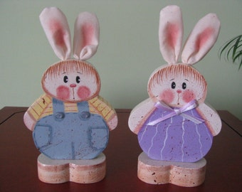 Bunny, Easter, shelf sitters, handpainted, bunnies, holidays,wood, gifts for her