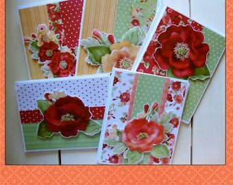 Birthday Cards,Thank You cards, 10 Cards, set of cards,Nitwit Collection Poppies,notecards,friend cards,appreciation cards,floral cards,