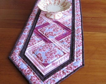 "Quilted Table Runner ""Pink Orchid Garlands"" Celtic Knot Design, Dining Room Decor, Quiltsy Handmade, Table Topper"