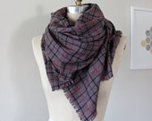 Plaid Blanket Scarf, Large Wool Scarf, Poncho
