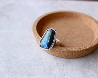 Labradorite Ring, Sterling Silver Ring, Size 7.75 US, Stone Ring, Hand Fabricated Ring, Hammered Ring