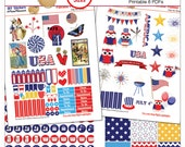 Patriotic Printable Planner Stickers / July 4 / 6 pdf Clip Art, Washi, HP & EC Boxes, 300 Icons/  Red White Blue, America, USA