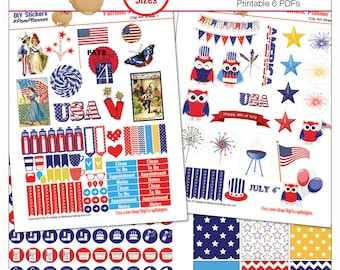 Planner Kit Stickers! Patriotic Printable Stickers / July 4  Art, Washi, HP & EC Boxes, 300 Icons/  Red White Blue,