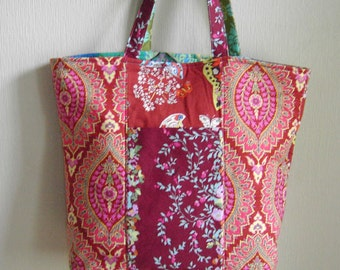 Handmade Tote, Large Reversible Tote With Pockets