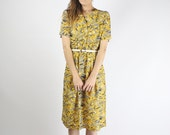 80s Japanese Dress, Abstract pattern Yellow Gray Shirt dress New Wave Retro dress Summer dress Quirky Belted Midi Short sleeve