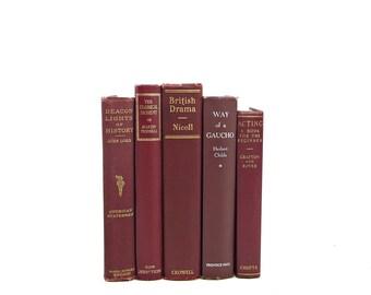 Marsala Wine Antique Decorative Books, Pantone Book Set, Wedding centerpiece, Book Collection, Old Book Decor, Instant Library Theater BOoks