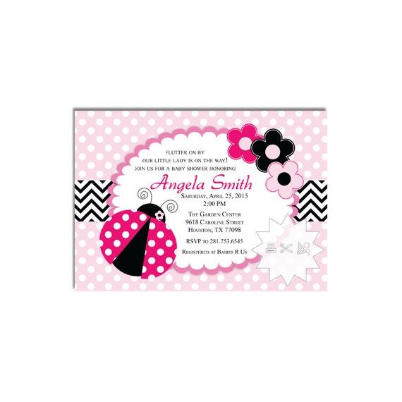 pink ladybug baby shower birthday invitation digital download by all