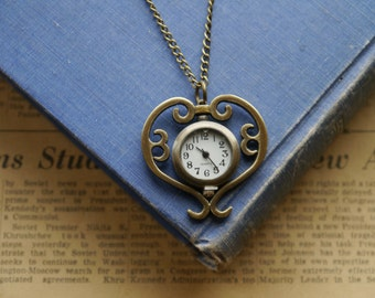 Antique Bronze Heart Scroll Pocket Watch with Chain