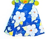 Daisy Baby Girl - Floral - Girl Dress - Blue - Aline Dress - Girls Peasant Dress - Flower - Floral Designs - KK Children Designs - 3M to 4T