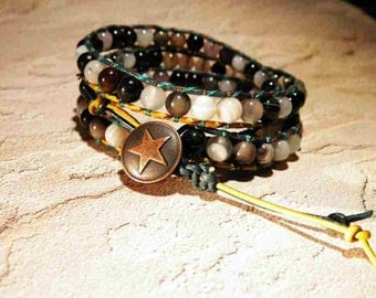 Western Style Agate Gemstone 2X-3X Wrap Around Leather Bracelet with Adjustable Star Button Clasp - Free Shipping - Great For Guys or Gals
