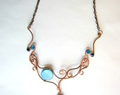 RESERVED for HQ- Blue jasper stone pendant, copper wire wrapped necklace with blue beads