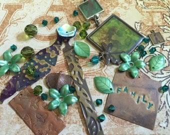 Family, Leaves, Flowers, Wings, Mixed Lot- Vintaj Natural Brass, Artisan Copper, Handmade Pendants, Crystals, Glass, Arylic Bead Stash-MX038