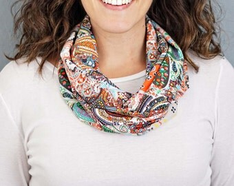 Multicolor Paisley Print Infinity Scarf