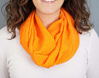 Orange and White Polka Dot Infinity Scarf