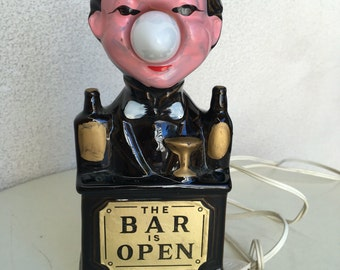 Vintage 1960s Bar is Open barman kitsch barware electric light Las Vegas souvenir
