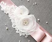Bridal Ivory Flower Sash Belt - Wedding Dress Sashes Belts - Taupe Ribbon Soft White Rhinestones Pearls Beaded Lace Flowers